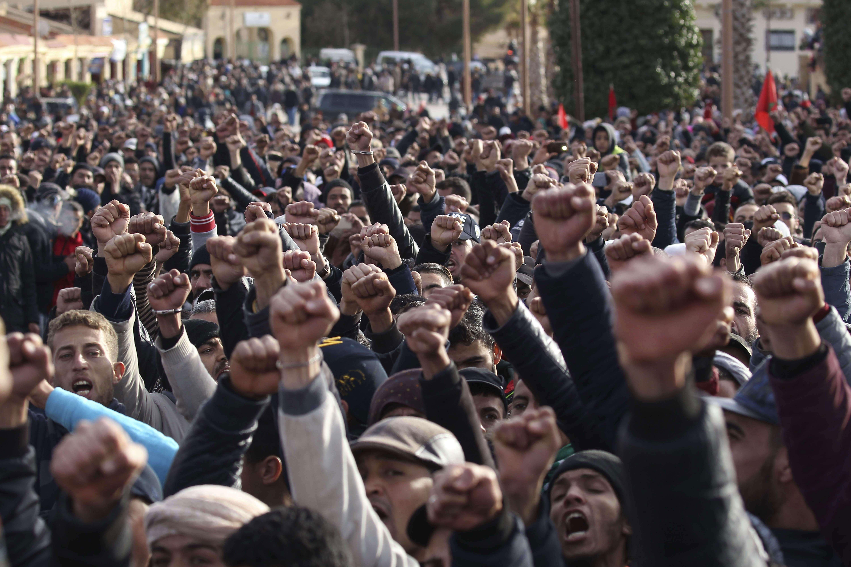 L'idée d'un Maghreb uni continue de faire fantasmer. Ici des manifestants de Jerada, au Maroc, en février 2018 (photo d'illustration).