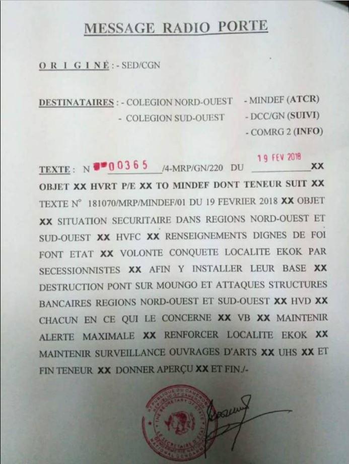 Document du secrétariat d'État à la Défense camerounais.