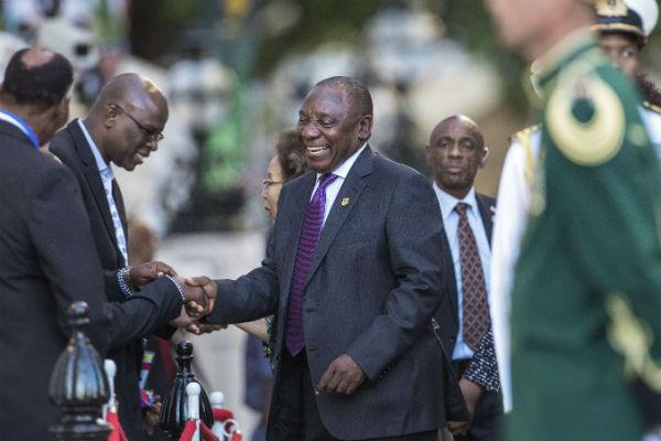 Cyril Ramaphosa à son arrivée au Parlement sud-africain, le 16 février 2018.
