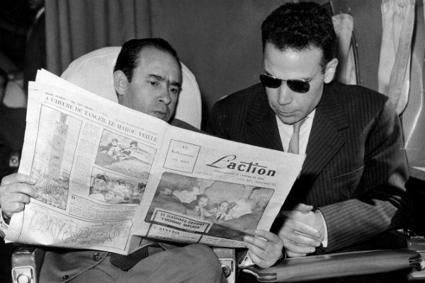Mehdi Ben Barka (g.), avec le Premier ministre libyen après la conférence de Tanger (du 27 au 29 avril 1958).