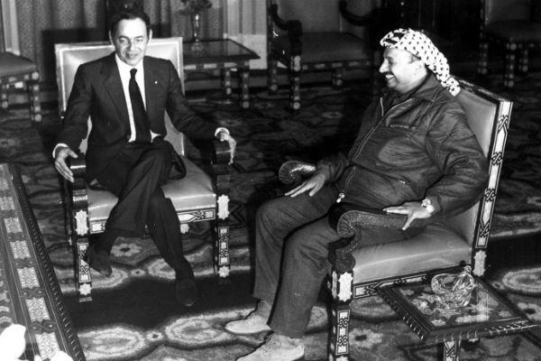 Yasser Arafat, reçu par Hassan II à Rabat en décembre 1969.