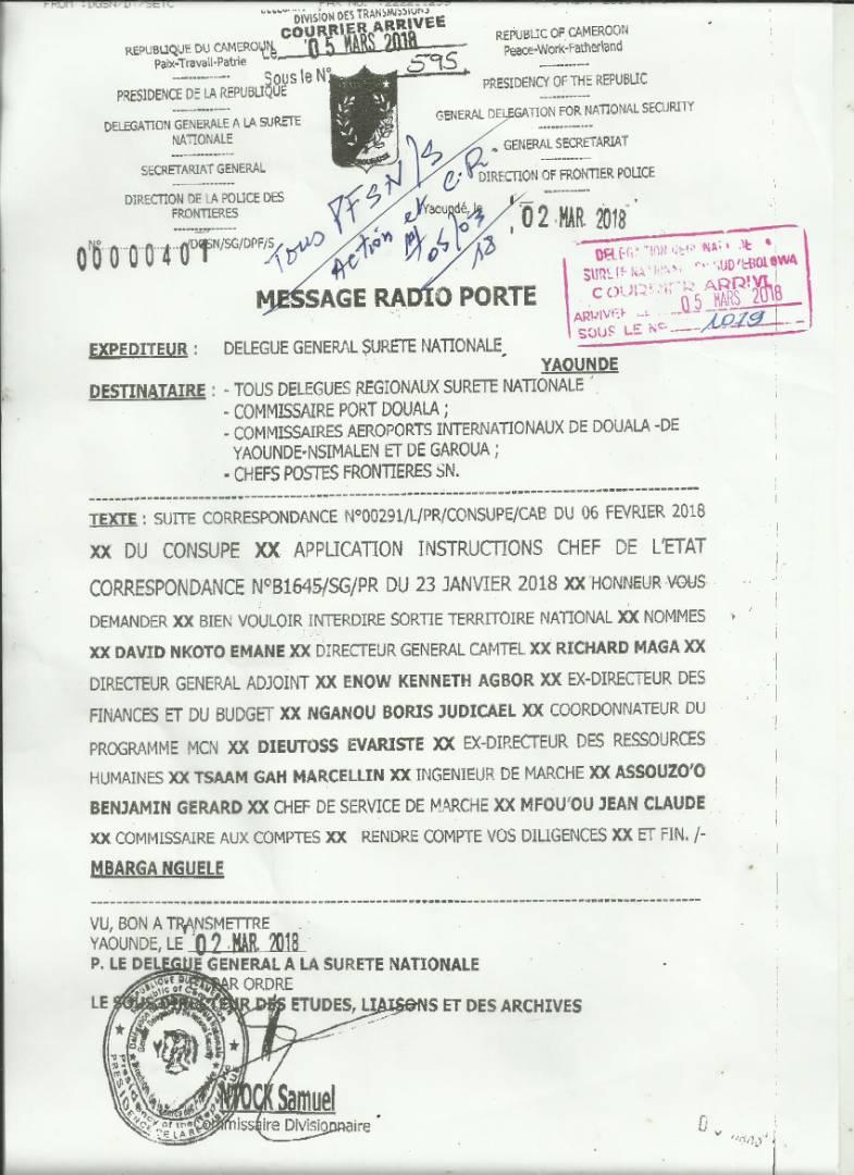 Interdiction de sortie de territoire du directeur général de Camtel.