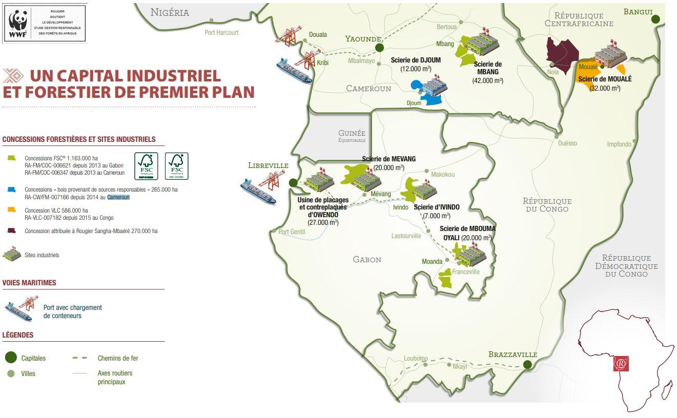 Sites du groupe Rougier en Afrique.