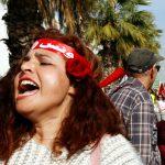 Une manifestante lors de la marche pour l'égalité dans l'héritage à Tunis, le 10 mars 2018.