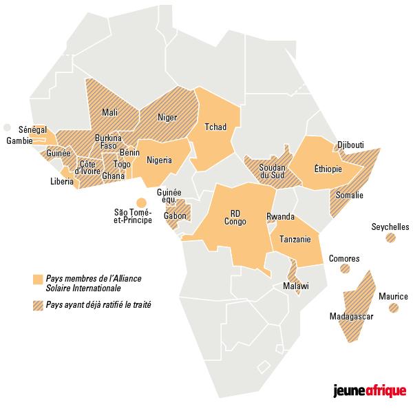 Les pays africains membres de l'Alliance solaire internationale.