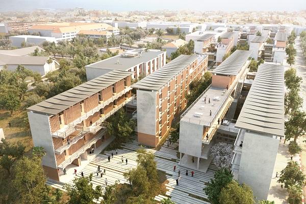 Vue aérienne du projet Campus sociaux d'excellence Dakar