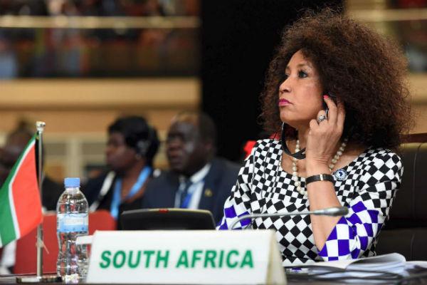 La ministre sud-africaine des Affaires étrangères Lindiwe Sisulu, à Kigali le 19 mars 2018.