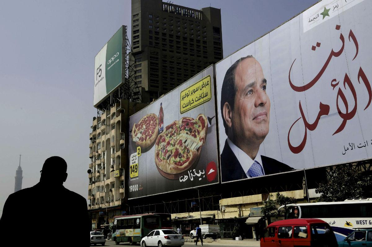 Une affiche de campagne du président égytien sortant, Abdel Fattah al-Sissi.