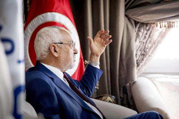 Rached Ghannouchi, le chef du parti Ennahdha, au quartier général de son mouvement, le 12mars 2018, à Tunis.