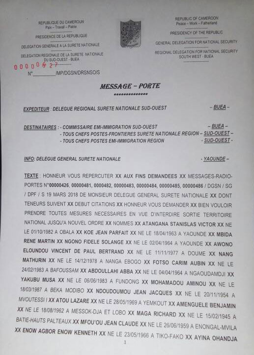 Interdictions de sortie de territoire camerounais émises le 19 mars.