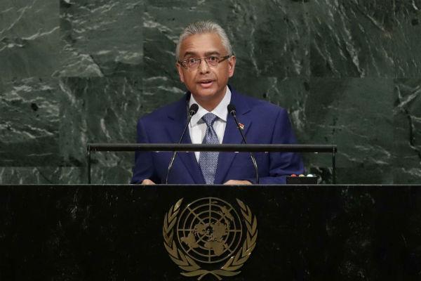 Pravind Kumar Jugnauth deva,t l'Assemblée générale de l'ONU, le 21 septembre 2017.