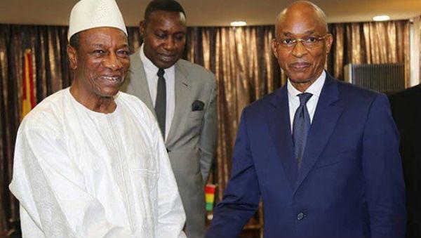 Alpha Condé, président de la République de Guinée, et Cellou Dalein Diallo, chef de file de l'opposition guinéenne, le lundi 2 avril 2018 au palais présidentiel.