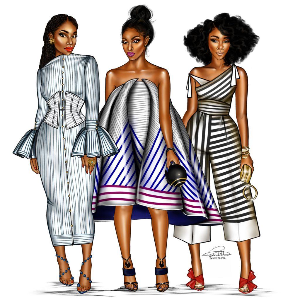 Les dessins de Peniel Enchill font souvent la part belle aux femmes plantureuses habillées de tenues agrémentées de tissu africain.