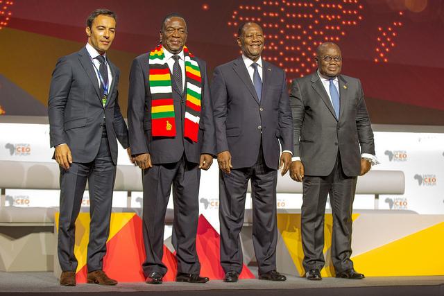 Ben Yahmed Amir, Président du Africa CEO Forum, Emmerson Mnangagwa, Président du Zimbabwe, Alassane Ouattara, Président de Côte d'Ivoire, Akufo-Addo Nana, Président du Ghana.