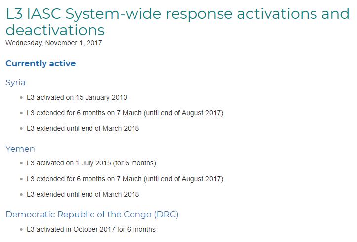 Capture d'écran du site internet des Agences du groupe humanitaire IASC.