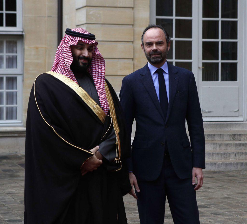 Mohamed Ben Salman à Paris le dimanche 8 avril 2018. Ici en compagnie du Premier ministre français, Édouard Philipe.