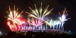 Le stade de Gold Coast lors de la cérémonie d'ouverture du 21ème Jeux du Commonwealth