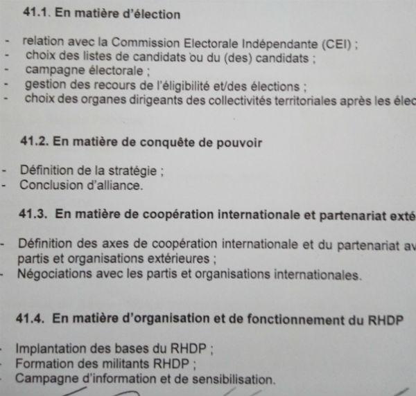 Une partie du passage concernant le transfert des compétences des partis fondateurs au futur RHDP