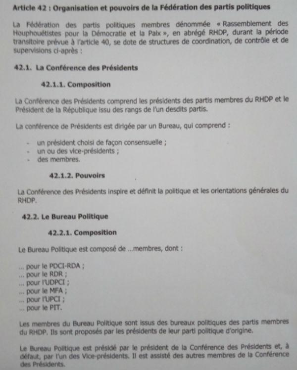 L'une des pages du document portant les statuts du futur RDHP