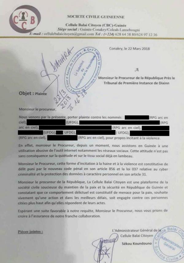 Copie de l'une des plaintes déposées par l'ONG Balai citoyen Guinée le 22 mars 2018.