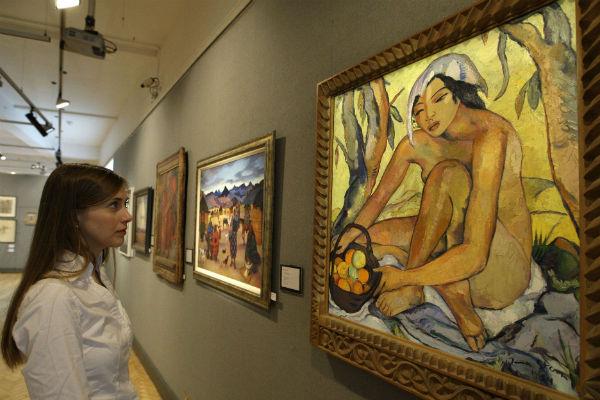 """""""Seated Nude with Oranges"""", d'Irma Stern, dans une salle des ventes à Londres en 2011."""
