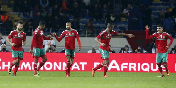 La sélection marocaine célèbre un but contre la Mauritanie, le 13 janvier 2018.