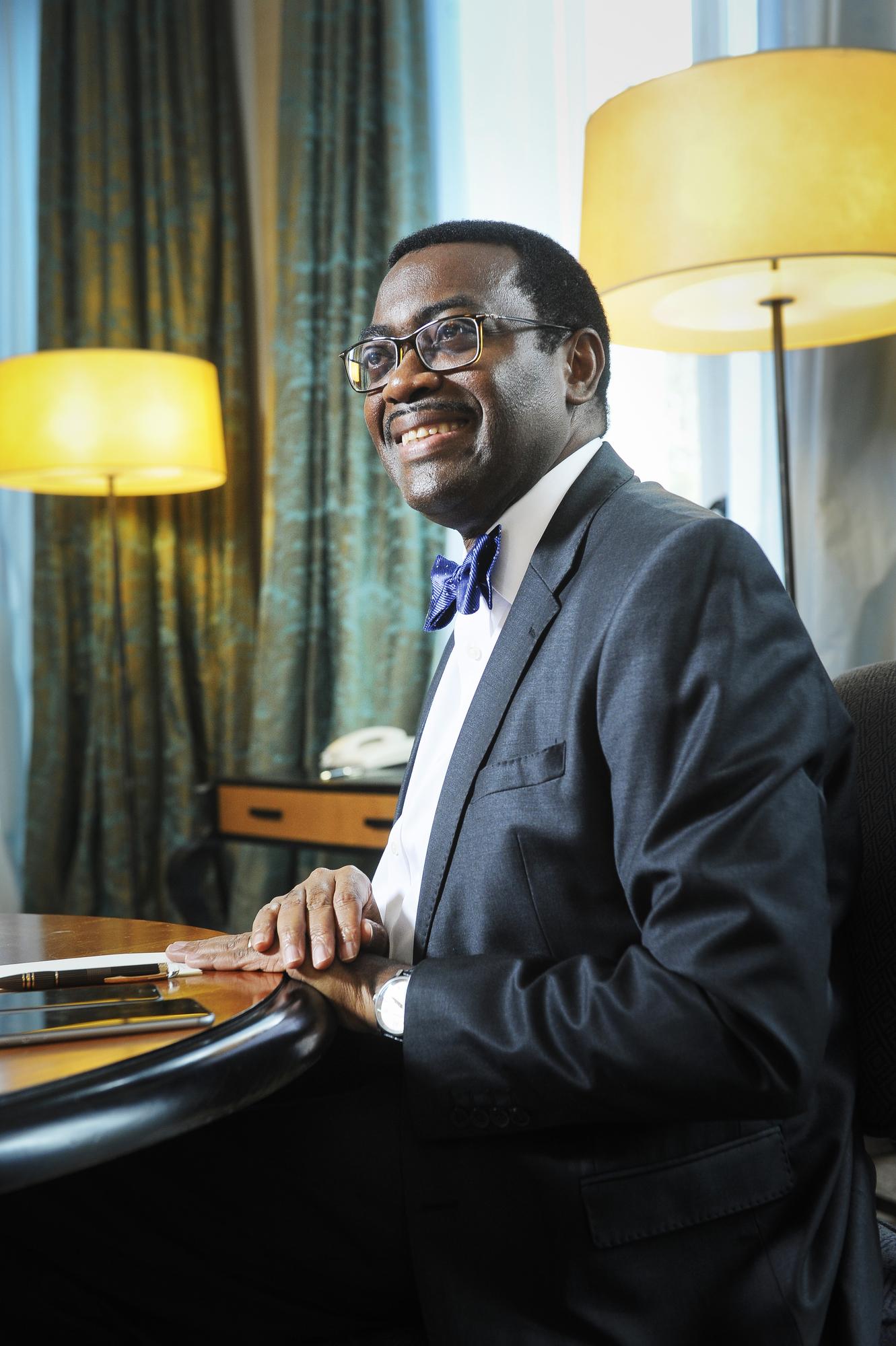 Akinwumi Ayodeji Adesina (Nigeria), ancien ministre de l'Agriculture et du développement, président de la Banque Africaine de Développement depuis le 28 mai 2015. À Paris, le 7 septembre 2015