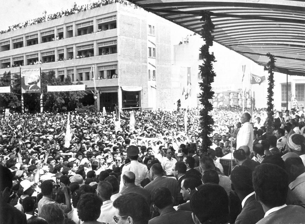 Le père de la nation Habib Bourguiba lors d'un meeting à Sousse (Tunisie), au début de juillet1961