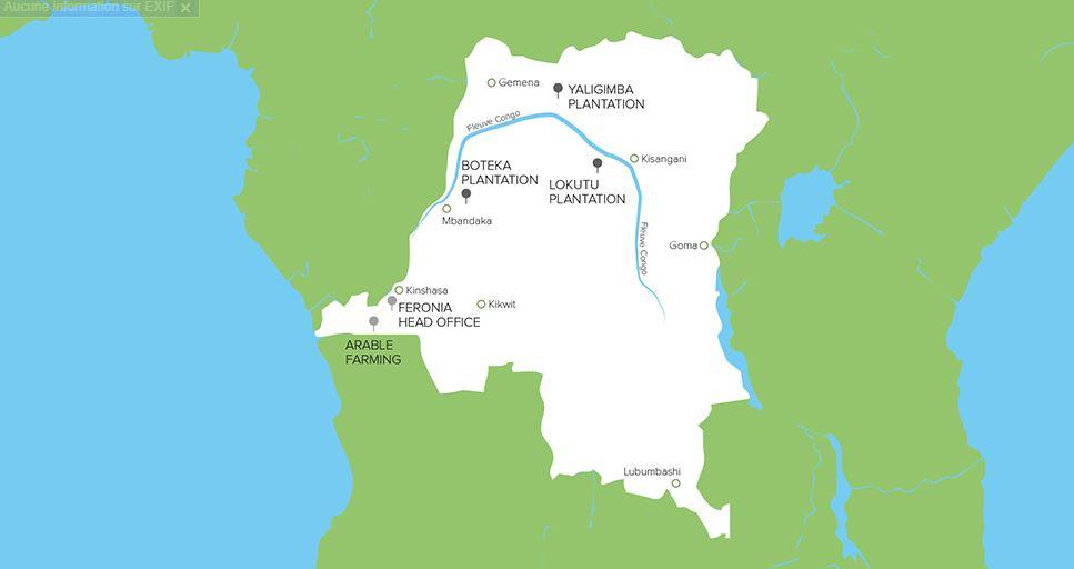 Les sites de Feronia en RDC.