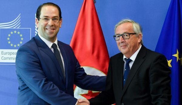 Youssef Chahed et Jean-Claude Juncker; à Bruxelles, le 24 avril 2018.