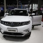 Un SUV Geely au salon de l'automobile en Chine