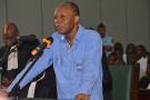 Le général Jean-Marie Michel Mokoko, lors de son procès à Brazzaville, le 11 mai 2018.