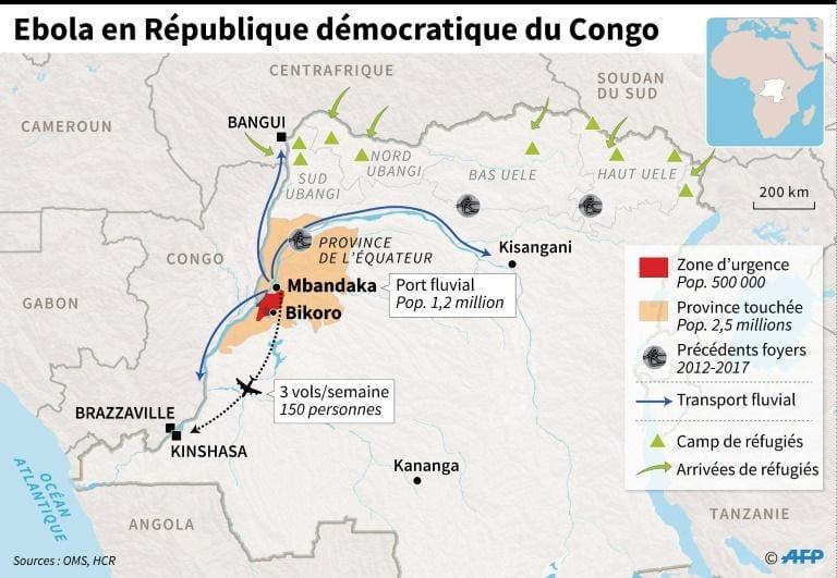 Carte de la République démocratique du Congo localisant les villes touchées par le virus Ebola.