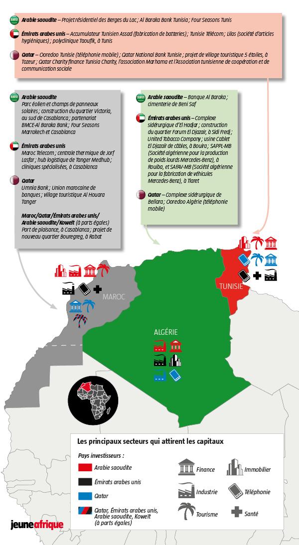 Du Golfe au Maghreb, des investissements très politiques.