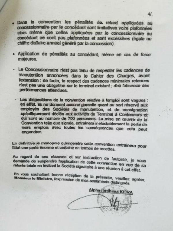 Lettre d'Alpha Obrahima Keira, secrétaire général de la présidence guinéenne au ministre des Transports, le 4 décembre 2008.
