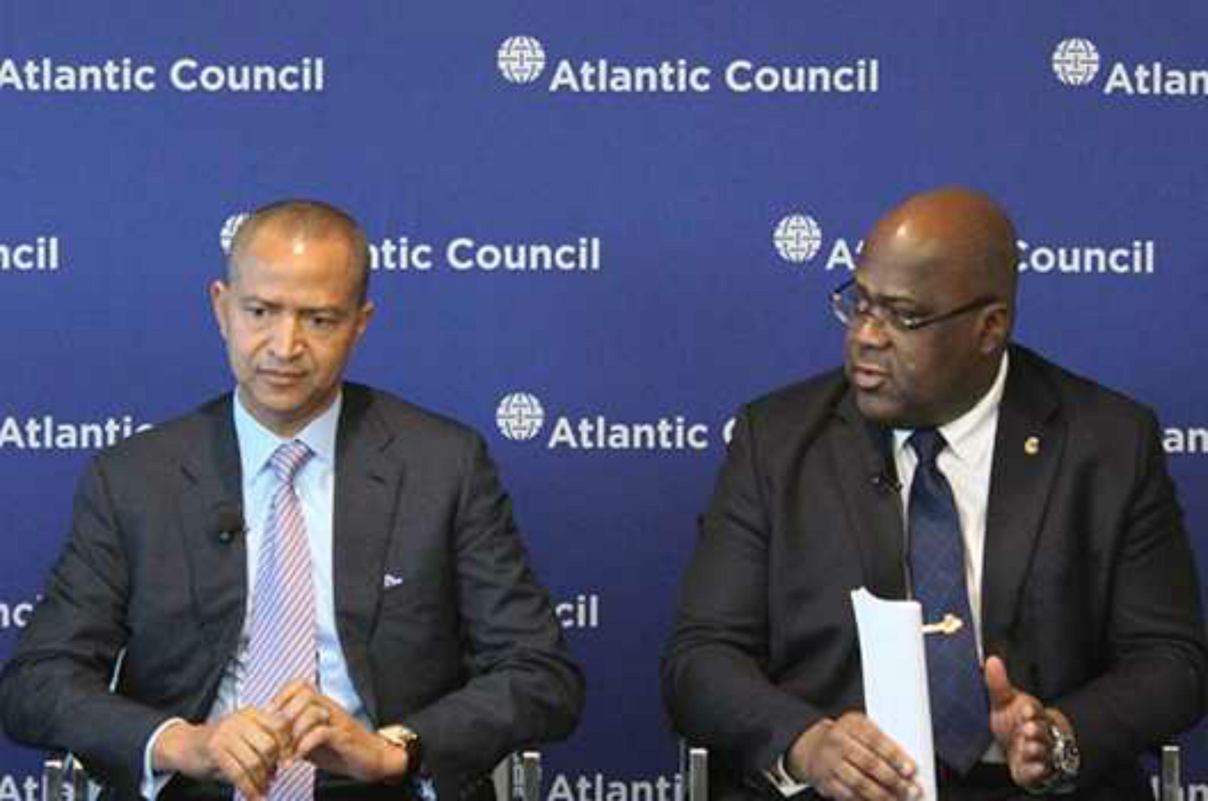 Moïse Katumbi et Félix Tshisekedi, lors de la conférence devant le think tank Atlantic Council, à Washington le 23 mai 2018.