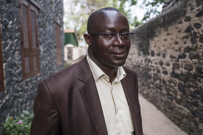 Augustin Senghor, maire de Gorée, en juillet 2017.
