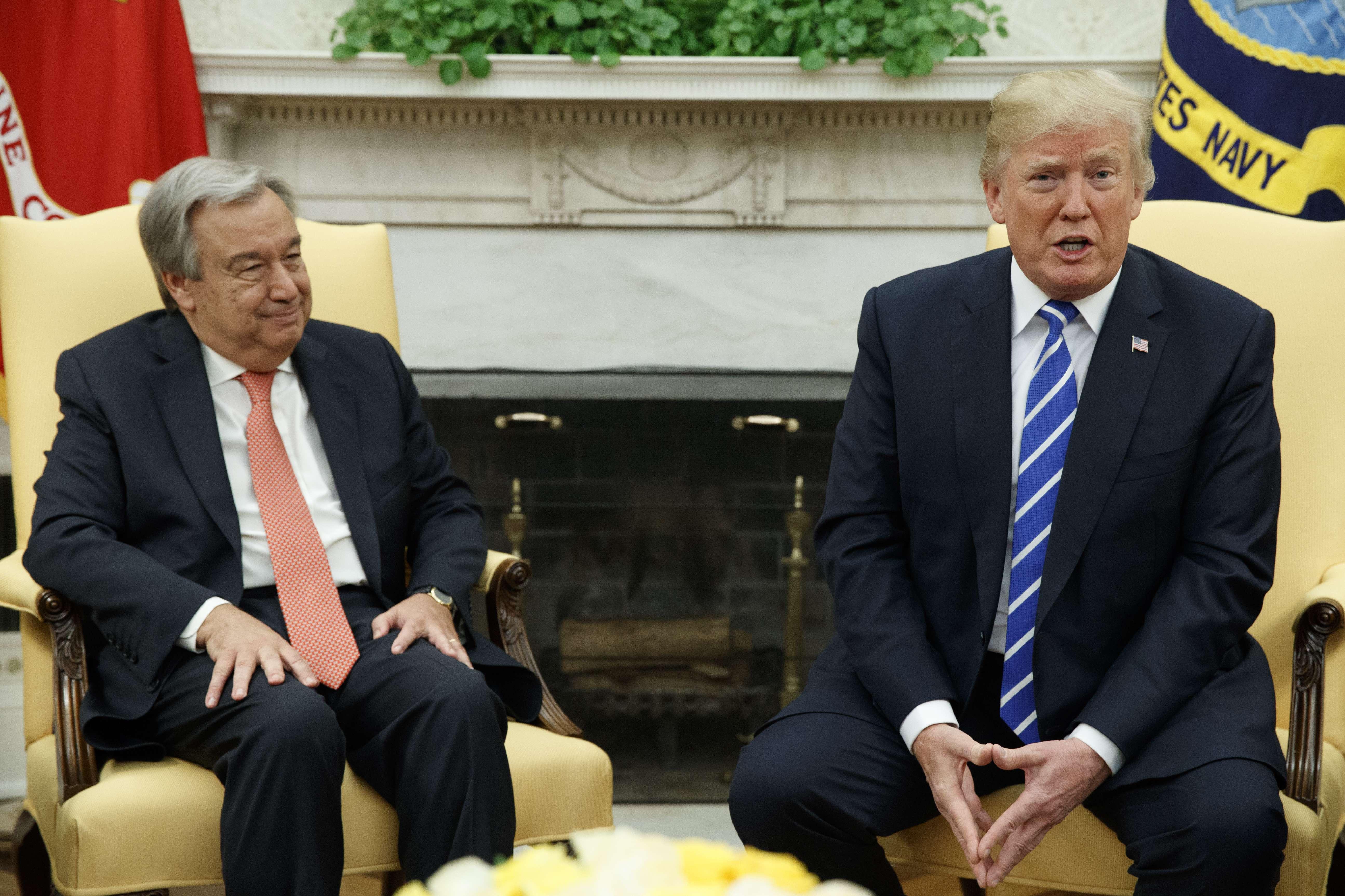 Le président Donald Trump s'exprime lors d'une réunion avec le secrétaire général de l'ONU, Antonio Guterres, à la Maison Blanche, le 20 octobre 2017, à Washington.