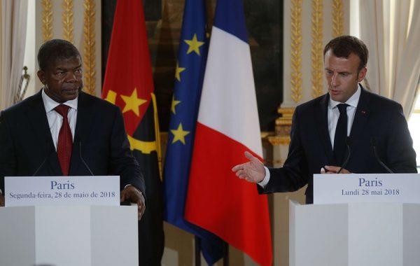 Le président angolais, João Lourenço, et son homologue français, Emmanuel Macron, le 28 mai 2018 à Paris