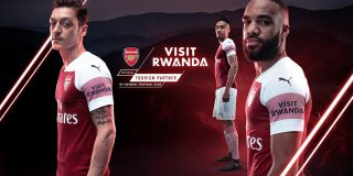 Visuel du «sponsoring» du FC Arsenal par le Rwanda.