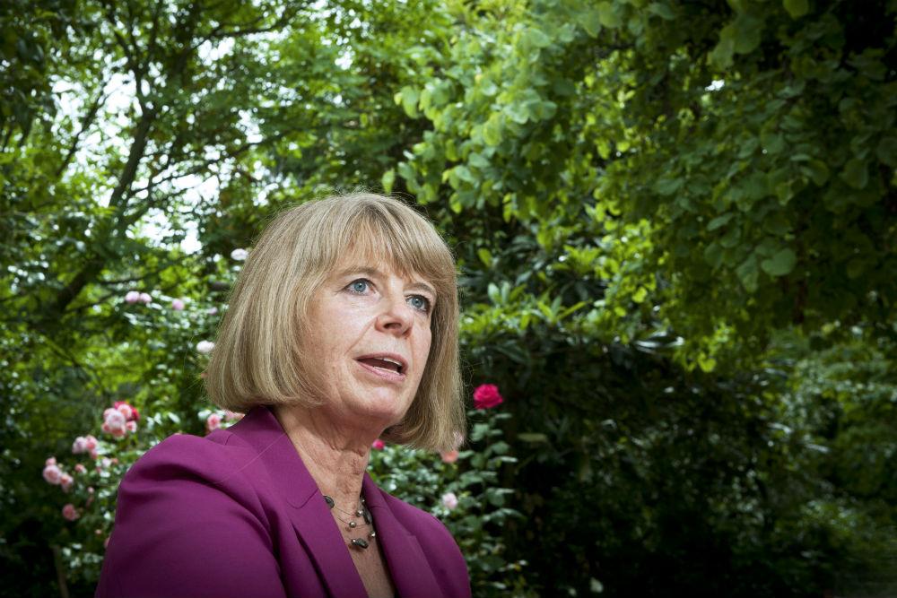 La ministre britannique pour l'Afrique, Harriett Baldwin, à l'ambassade du Royaume-Uni à Paris, le 28 mai 2018.