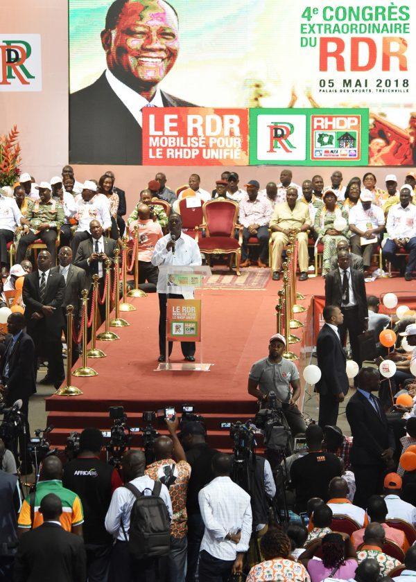 Durant le congrès extraordinaire du RDR, le 5mai, à Abidjan
