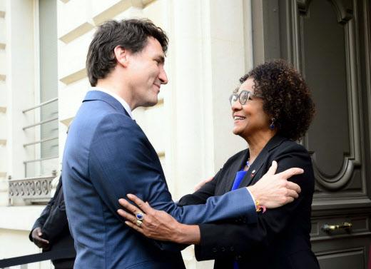 Le Premier ministre canadien Justin Trudeau et Michaëlle Jean, secrétaire générale de l'OIF