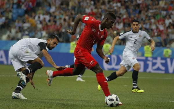 Le joueur camerouno-suisse Brael Embolo, face au Costa-Rica, le 27 juin, lors du Mondial 2018 en Russie.