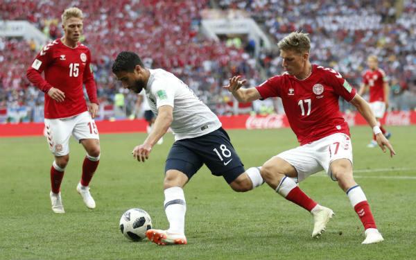 Le joueur franco-algérien Nabil Fekir, face au Danemark, le 26 juin lors du Mondial 2018 en Russie.