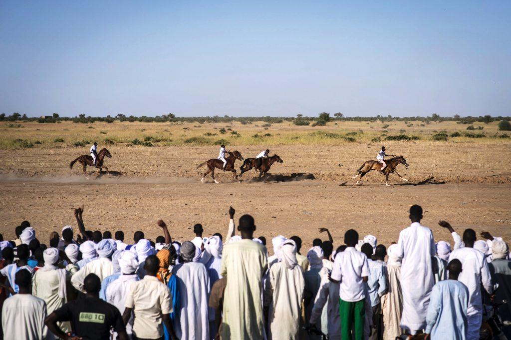 Les spectateurs assistent à la première course.  à Massaguet, Tchad, novembre 2015.
