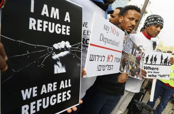 Manifestation contre les expulsions de migrants vers l'Ouganda et le Rwanda, le 22janvier,à Herzliya, en Israël