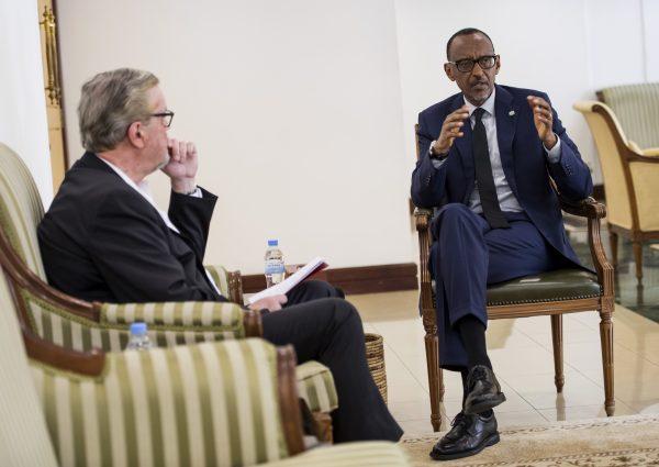 Paul Kagame lors de l'entretien avec François Soudan, le 30mai 2018