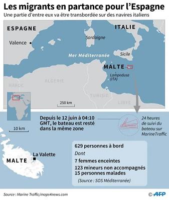 Carte localisant le navire Aquarius qui a secouru 629 migrants en Méditerranée.