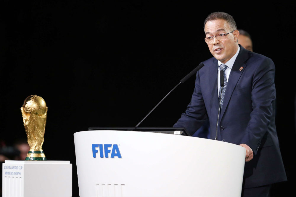 Fouzi Lekjaâ, président de la Fédération marocaine de football, quelques minutes avant le vote pour l'attribution de l'organisation du Mondial 2026, mercredi 13 juin 2018.